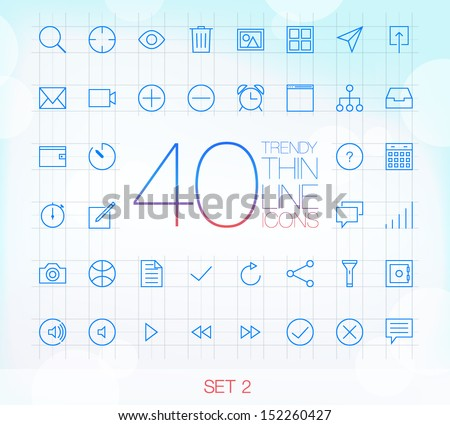 40 Trendy Thin Line Icons for web and mobile Set 2 - stock vector
