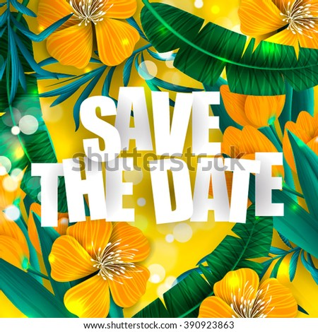 Tropical palm leaves  background  Save the date card - stock vector