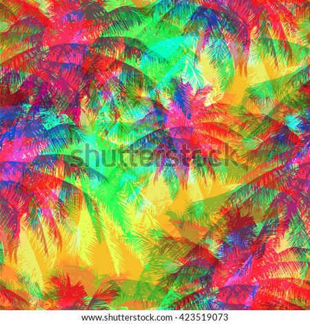 tropical pattern depicting pink and purple palm trees with  with yellow highlights reflections on a turquoise background in crazy colors - stock vector