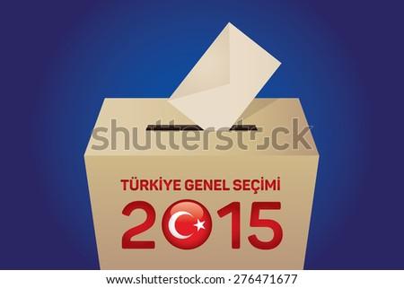 2015 Turkish General Election (Turkish: Turkiye Genel Secimi), Vote Box - Blue Background - stock vector