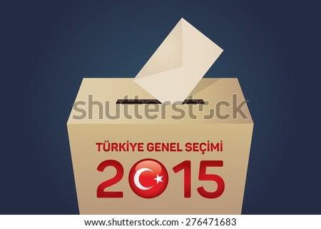 2015 Turkish General Election (Turkish: Turkiye Genel Secimi), Vote Box - Navy Background - stock vector