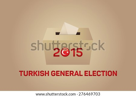 2015 Turkish General Election, Vote Box - Gold Background - stock vector