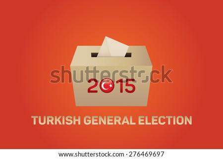 2015 Turkish General Election, Vote Box - Orange Background - stock vector