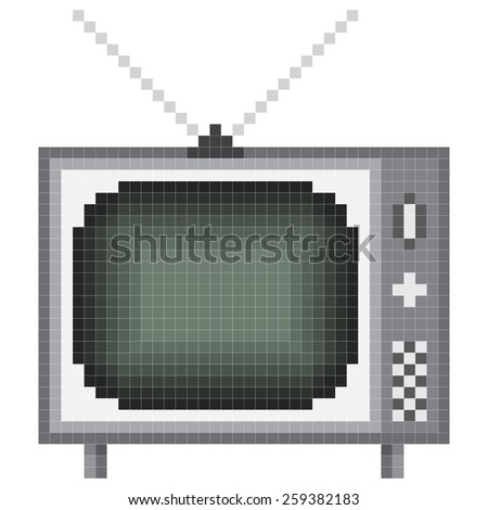 1940-1980 tv pixel art - stock vector