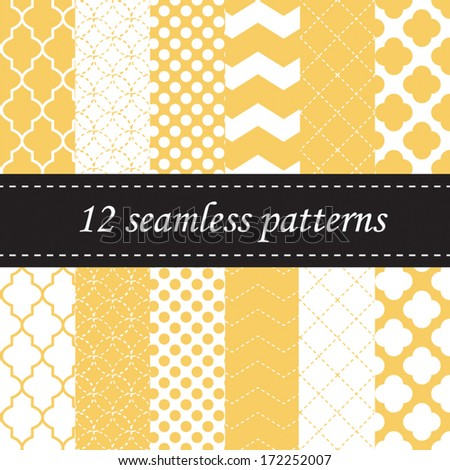 Twelve seamless geometric patterns with quatrefoil, chevron and polka dot designs, in yellow - stock vector