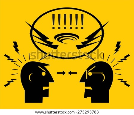 Two angry men. People quarreling. Two colleagues arguing.  - stock vector