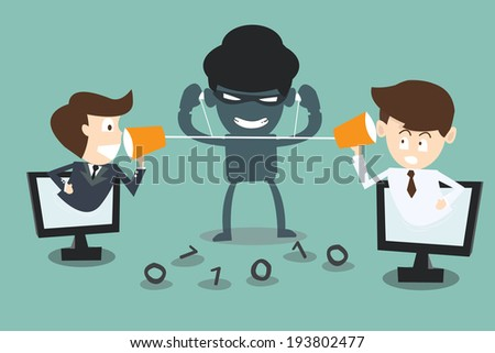 two businessmen speaking with a  hacker spy listening - stock vector