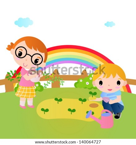 Two happy kids planting plants in the garden. - stock vector