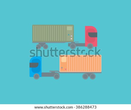 two lorry trailers delivering ship containers goods. international delivering business concept / lorry trucks / vector illustration with clear and simple design can use as background, web icon object - stock vector