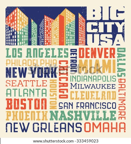 typography word collage design with many big United States cities - stock vector