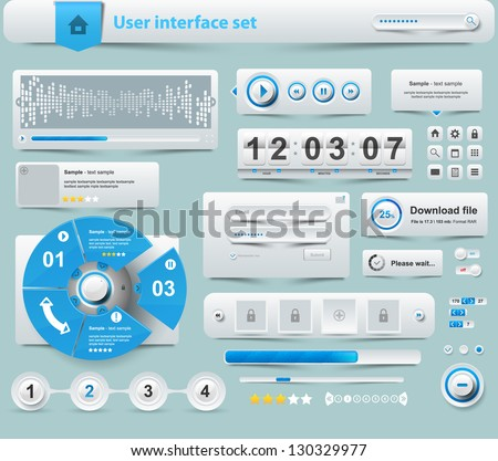 UI Elements Design white, Web site design - stock vector
