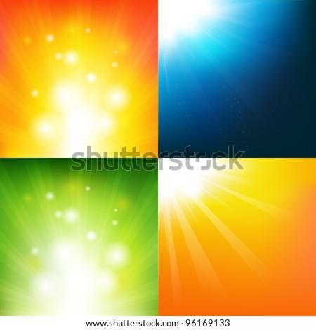 4 Underwater And Sunburst Backgrounds, Vector Background - stock vector
