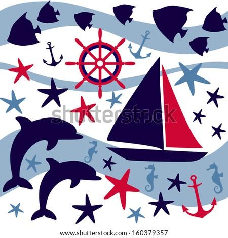 Underwater wildlife. Vector background - stock vector