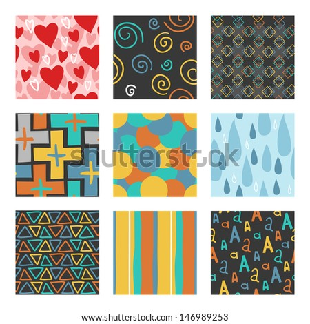 9 unique random hand draw pattern set. The vector set of 9 unique random hand draw patterns. - stock vector