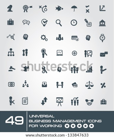 49 universal business management icon set for working,vector - stock vector