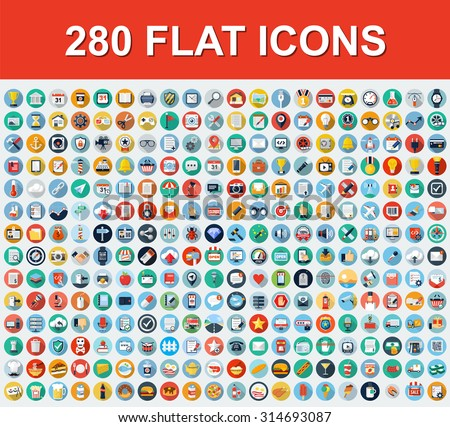 280 Universal Flat Icons - stock vector