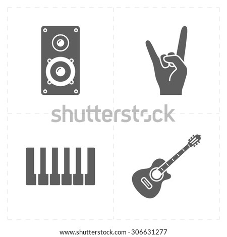 4 universal flat music icons - stock vector