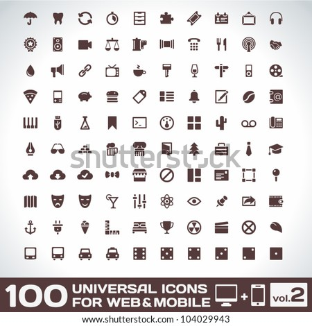 100 Universal Icons For Web and Mobile volume 2 - stock vector