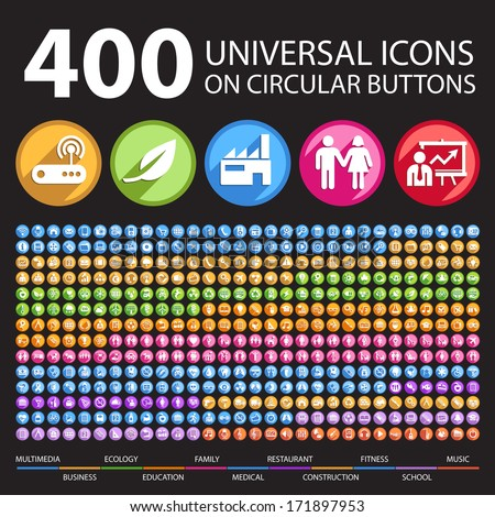 400 Universal Icons on Circular Buttons. - stock vector