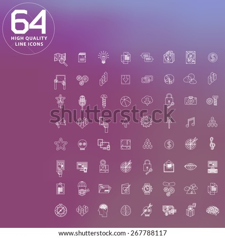 universal modern icons for web and mobile app, business, finance, multimedia, hipster style - stock vector