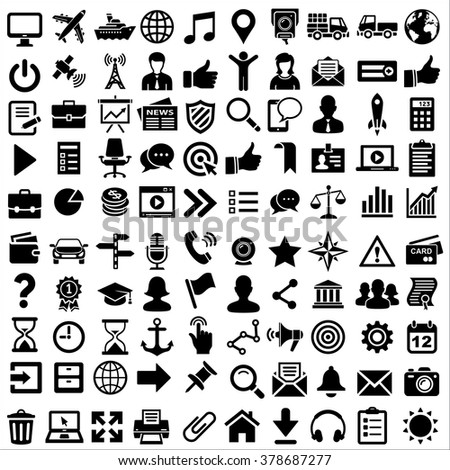 100 Universal or Miscellaneous Icon Pack for Business, Finance, Travel,  Technology, Communication, Corporate. Web and Mobile UI - Illustration - stock vector