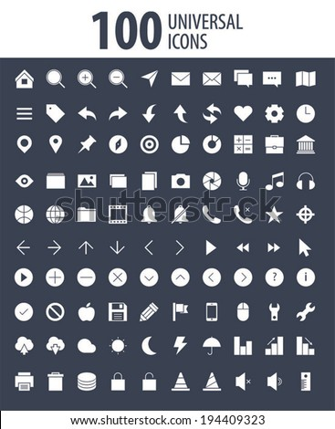 100 Universal Outline Icons Pack For Web and Mobile - stock vector