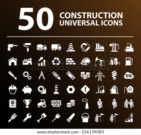 50 Universal Standard White Construction Icons on Black Background. - stock vector