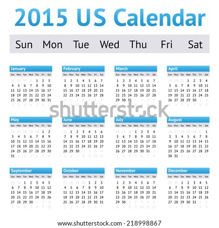 2015 US American English Calendar. Week starts on Sunday - stock vector