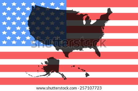 usa map of flag background - stock vector