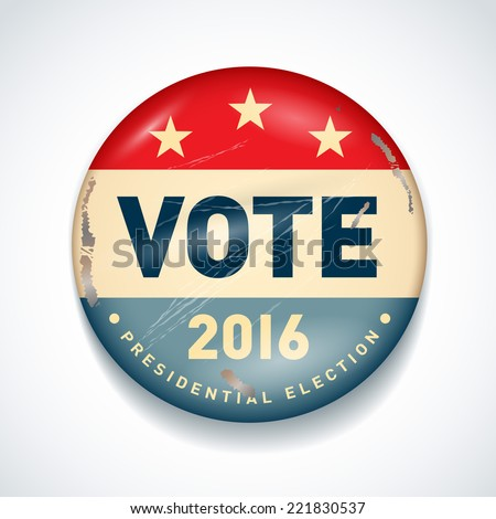 2016 USA presidential election button. EPS 10 - stock vector
