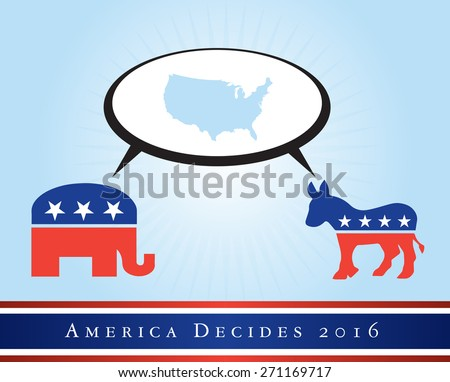 2016 USA presidential election poster or sticker, with a map of the US in the middle. Vector file available.  - stock vector