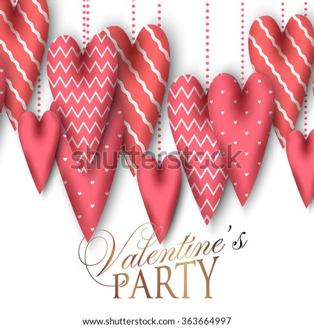 Valentine's Day Party Invitation with gift box snow and heart. Heart toy jewelry made of fabri?. - stock vector