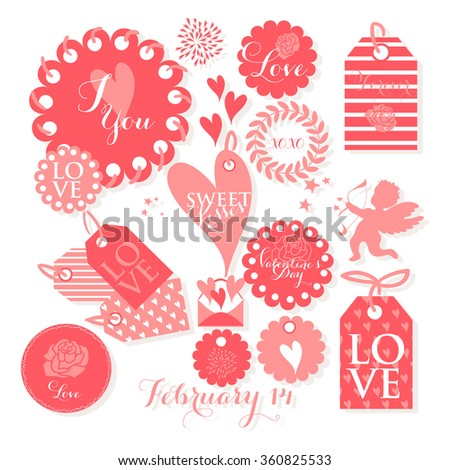Valentines day and weeding design elements. Set of Valentines Day gift tags with  wishes.. Holiday printable badges and labels with love  - stock vector