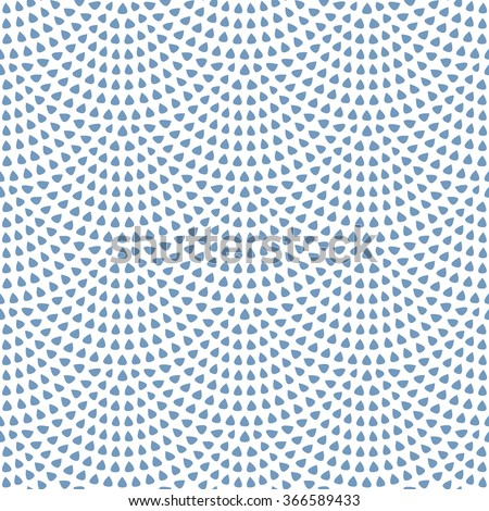 Vector abstract seamless wavy pattern with geometrical fish scale layout. Light small blue rain water drops on a white background. Peacock tail shape, fan silhouette. Textile print, web page fill - stock vector