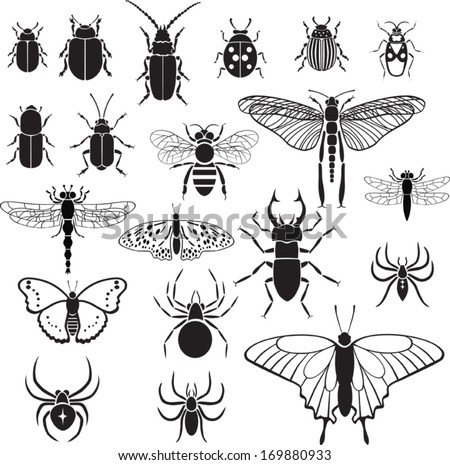 20 vector black images of insects on a white background - stock vector