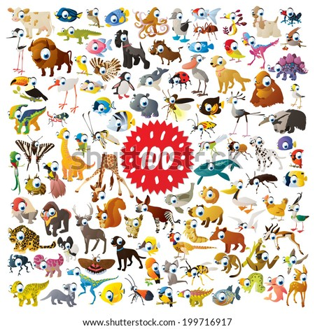 100 vector bright color cartoon animals for children abc education or flash card mobile games or book illustration - stock vector