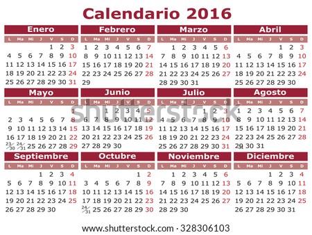 2016 vector calendar in Spanish. Easy for edit and apply. Calendario 2016 - stock vector