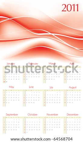2011 vector calendar with red abstract background - stock vector