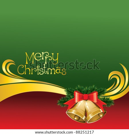 2012 vector christmas card with jingle bells - stock vector