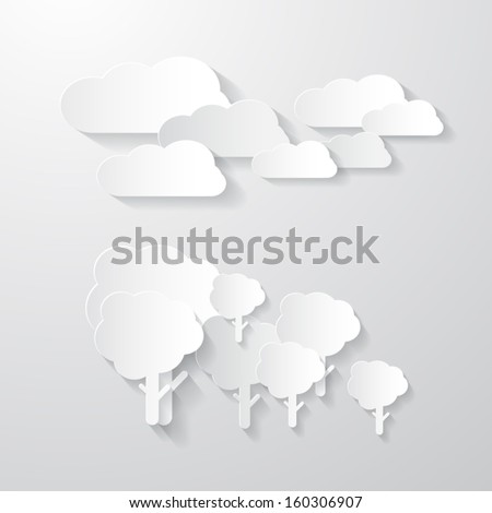 Vector Clouds and Trees Cut From Paper Background  - stock vector
