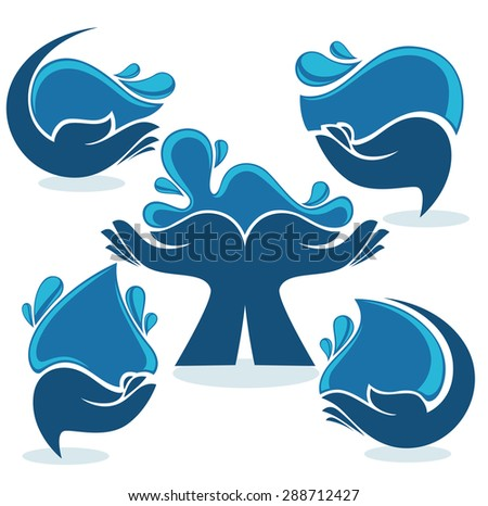 vector collection of clean women hands and fresh water - stock vector