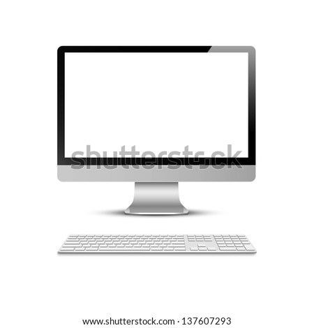 Vector computer display with keyboard - stock vector