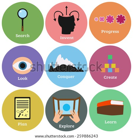 Vector education and self development flat line icons set. Progress, learn, explore, conquer, look, plan, create, invent and search.  - stock vector