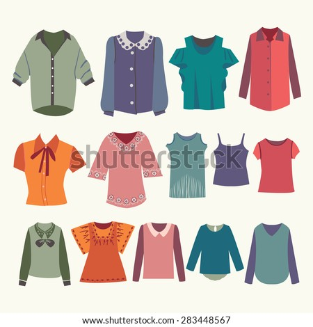 Vector fashion women's shirts and colorful female t-shirts for you design. - stock vector