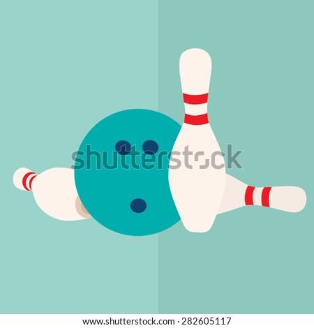 vector flat icon  bowling ball and pins - stock vector