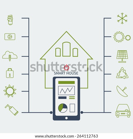 vector flat illustration concept of smart house technology system with centralized control of temperature, car, video, wi-fi, solar system, internet and etc - stock vector