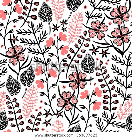 vector floral seamless pattern with abstract plants and herbs - stock vector