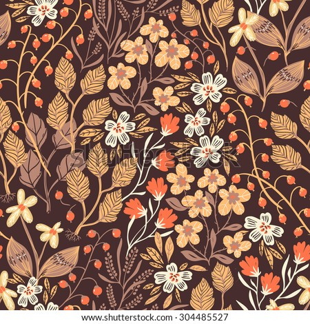 vector floral seamless pattern with autumn leaves and flowers - stock vector