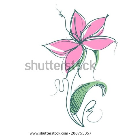 VECTOR    Flower background for design with tulip   - stock vector