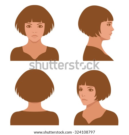 vector girl hairstyles , full face and profile head character - stock vector